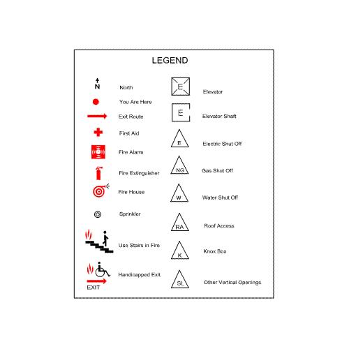 Legend for Emergency/Evacuation Floor Plan