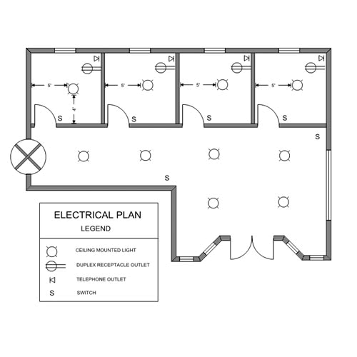 A small office electrical floor plan.