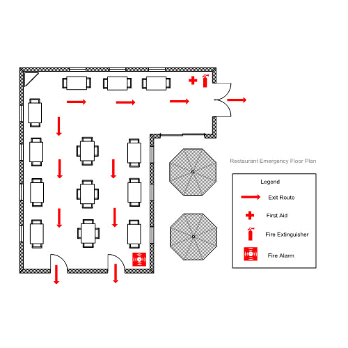 Restaurant Emergency/Evacuation Floor Plan