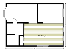 Eample floor plan drawing - measure the area