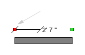 Dimension line attached to a wall